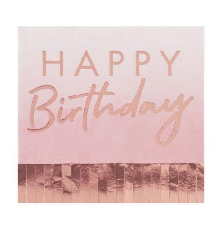 Serviettes papier Happy Birthday à Frange Rose Gold (x16)  Hollyparty