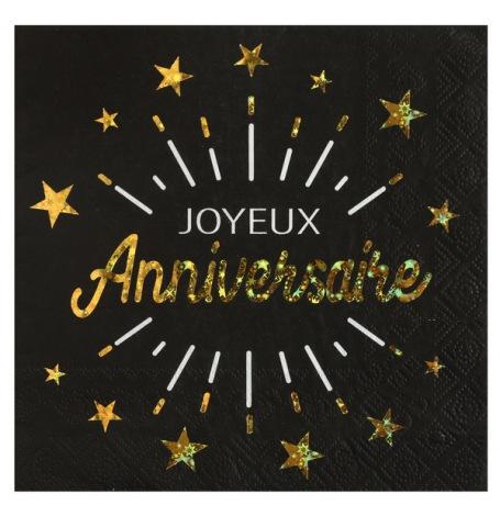 Serviettes papier Joyeux Anniversaire Noir & Or (x10) | Hollyparty