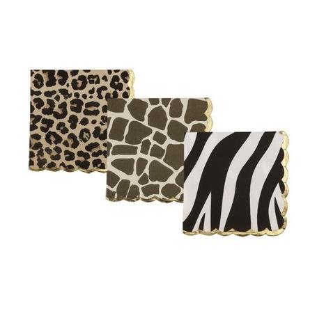 Serviettes papier Léopard, Girafe, Zèbre Or (x18)| Hollyparty