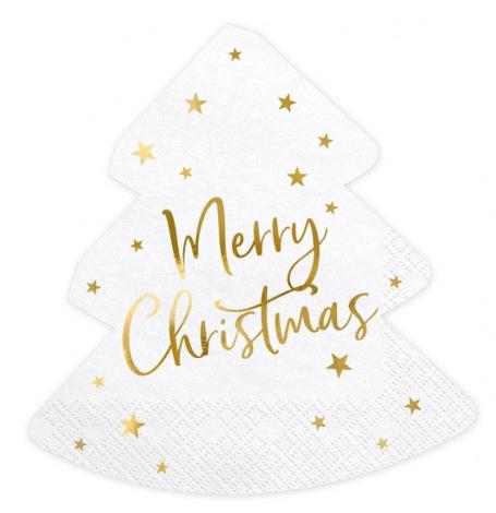 Serviettes Sapin de Noel Merry Christmas (x20)| Hollyparty