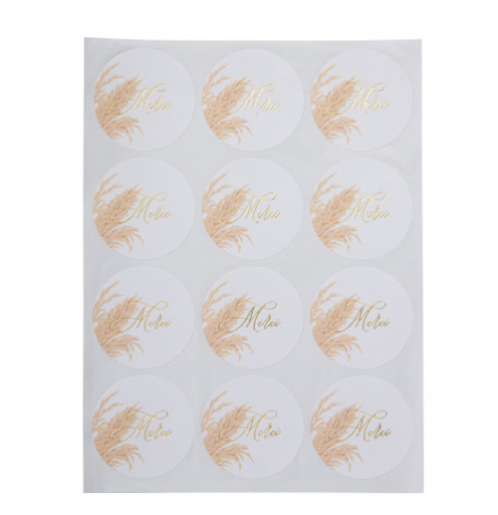 Stickers Merci Pampa Or 5 cm (x24)| Hollyparty
