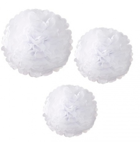Trio Pompons Fleur de Papier Blanc (x3)| Hollyparty