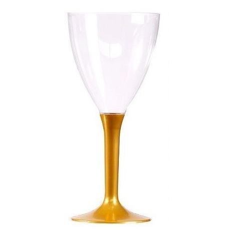 Verre à vin Pied Plastique Métallisé Or (x10)| Hollyparty