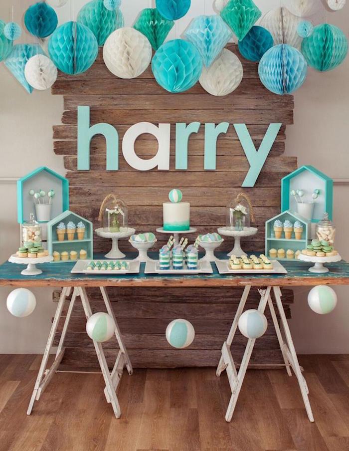 sweet table anniversaire garcon theme bleu