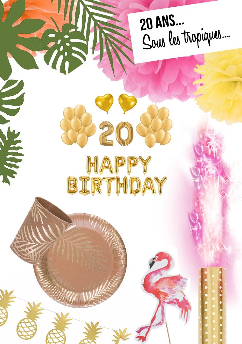 deco anniversaire 20 ans tropical