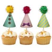 24 pics à cupcake Chapeaux de fête