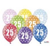 6 Ballons de baudruche Métalliques Chiffre 25