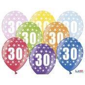 6 Ballons de baudruche Métalliques Chiffre 30