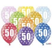 6 Ballons de baudruche Métalliques Chiffre 50