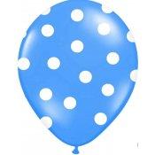 6 Ballons de baudruche à pois Bleu
