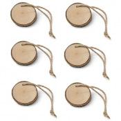 6 Rondins Bois avec ficelle 4.5 cm