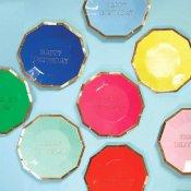 8 Assiettes en carton Dessert 8 couleurs