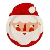 8 Assiettes en carton en forme de Père Noel