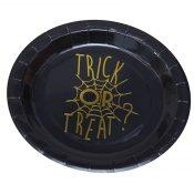 8 Assiettes en carton Toile d'araignée Halloween
