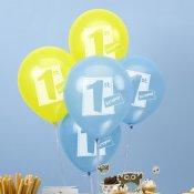 8 ballons de baudruche Jaune & Bleu 1 an