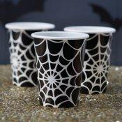 8 Gobelets en carton Toile d'araignée Halloween