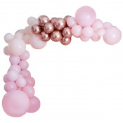 Arche de ballons Organique Rose & Rose Gold