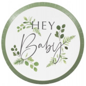 Assiettes Botanique Hey Baby Shower (x4)