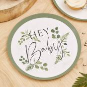 Assiettes Botanique Hey Baby Shower (x8)