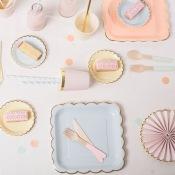 Assiettes Carré en carton 4 couleurs Pastel (x4)