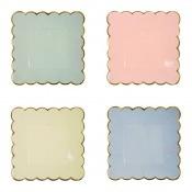 Assiettes Carré en carton 4 couleurs Pastel (x8)