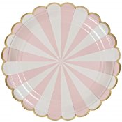 Assiettes carton Rayure Rose & Or Meri Meri (x8)