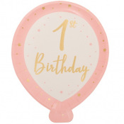 Assiettes en carton 1st Birthday Rose & Or (x4)
