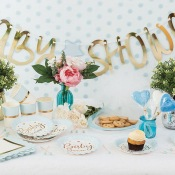 Assiettes en carton Baby Shower Bleu & Or (x4)