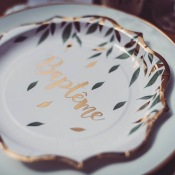 Assiettes en carton Baptême Végétal (x4)