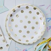 Assiettes en carton Blanc Pois Or (x4)
