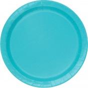 Assiettes en carton Bleu Turquoise Uni (x8)