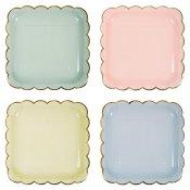 Assiettes en carton Carré 4 Couleurs Pastel (x4)