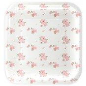 Assiettes en carton Carré Blanc à fleur (x5)