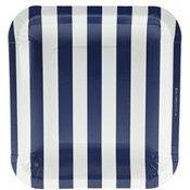 Assiettes en carton Carré Rayures Bleu Marine (x6)