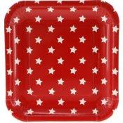 Assiettes en carton Carré Rouge Etoiles (x6)