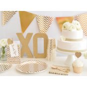 Assiettes en carton Chevrons Or Brillant (x5)