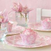 Assiettes en carton Damassées Rose (x6)