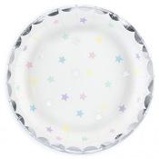 Assiettes en carton Etoiles Pastel & Argent (x6)