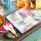 Assiettes en carton feuillage La Havanne (x12)