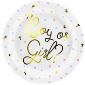 Assiettes en carton Gender Reveal Boy or Girl (x6)
