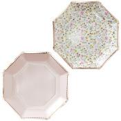 Assiettes en carton Héxagonal floral (x8)