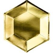 Assiettes en carton Héxagonale Or Uni (x6)