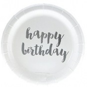 Assiettes en carton Happy Birthday Argent (x6)