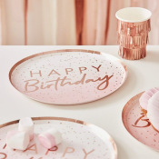 Assiettes en carton Happy Birthday Ombre Rose Gold (x4)