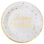 Assiettes en carton Happy Birthday Or (x4)