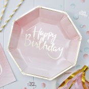 Assiettes en carton Happy Birthday Rose et Or (x4)