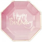 Assiettes en carton Happy Birthday Rose et Or (x8)
