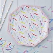 Assiettes en carton Hexagonale Multicolore (x8)