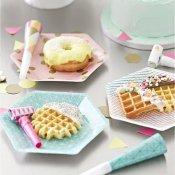Assiettes en carton hexagonales géo pastel (x12)