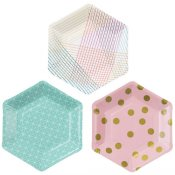 Assiettes en carton hexagonales géo pastel (x6)